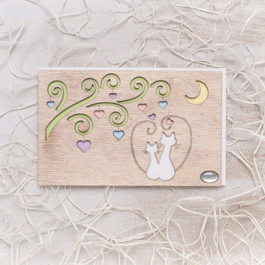Открытки на свадьбу из дерева